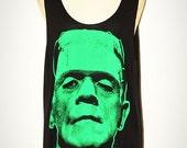Frankenstein Black Singlet Sleevless Tank Top Women Indie Art Horror Classic Movie Rock T-Shirt  Size L