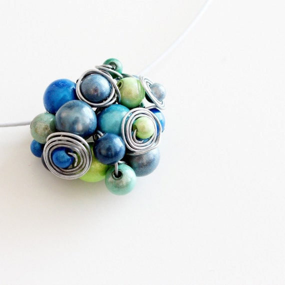 """necklace """"My Love is Your Love"""" wire wrapped unique cluster turquoise blue marine apple neon green navy"""