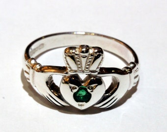 Claddagh Ring in 10ct white gold with Birthstone
