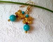 ON VACATION.Butterfly earrings with turquoise - Spring sale