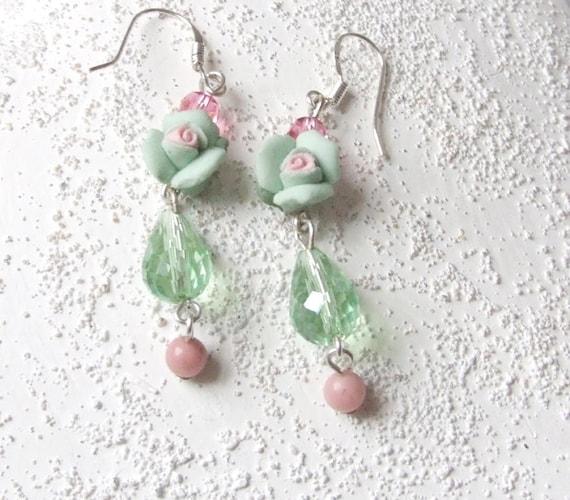 Secret Garden - shabby chic green rose earrings - beaded earrings - romantic love- gifts under 25