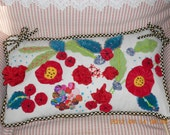 "English Country Garden,Lumbar pillow with raised appliqued floral design, very Mackenzie Childs 20""x12"" icludes insert."