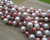 SALE -- Silver & Burgundy Twisted Glass Pearls Necklace