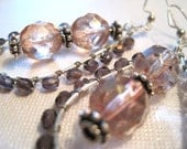 Dark Amythest and Topaz Pink Luster Czech Dangle Earrings