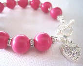 Reserved -- Linda -- Hot Pink Beaded Bracelet with Heart Toggle Clasp