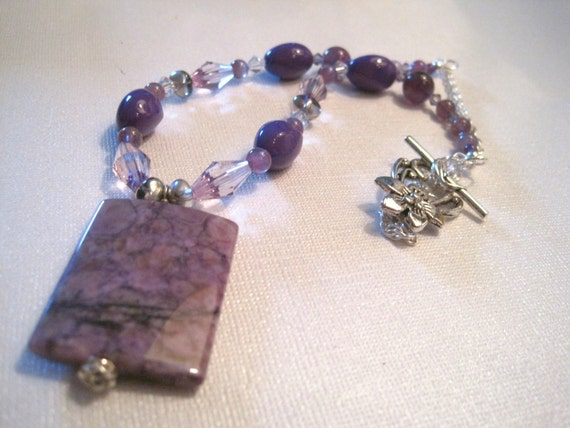 50% off -- Shades of Purple Beaded Pendant Necklace