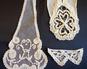 3 beautiful pieces of lace , all my lace is handmade. On hold for Karen