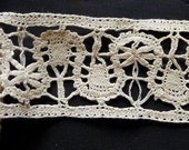 Beautiful linen lace insert ( Rusian ) all my lace is handmade  .Reserved for Ashley