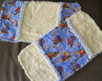 Construction Rag Quilt Burp Cloths