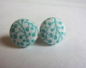 Button earrings -teal branches