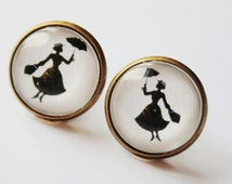 Miss Poppins Silhouette Stud Earrings bronzecolored - fairy tale pixie nanny black white twin sister best friend daughter jewelry gift