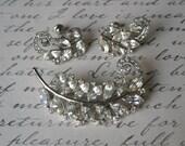 Vintage Rhinestone Feather Plume Brooch and Earrings Set