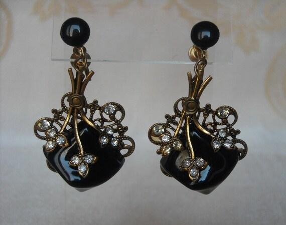Vintage Art Deco Black Rhinestone Earrings