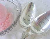 Hand Stamped Silverware Spoon Vintage My Ice Cream Your Ice Cream