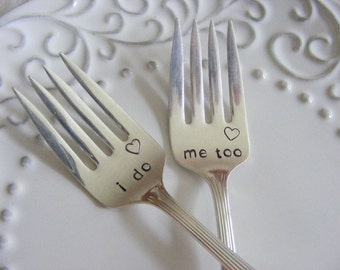 Wedding Forks i do me too cake forks with heart stamp