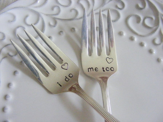 wedding forksi do me too cake forks with heart stamp