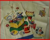 Vintage Towel Towels (2) Linen Bucilla Mint Picnic pie basket hamper Summer picnic painted cupboard