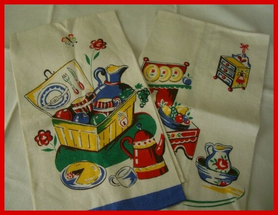 Vintage Towel Towels (2) Linen Bucilla Mint Picnic pie basket hamper Summer picnic painted cupboard