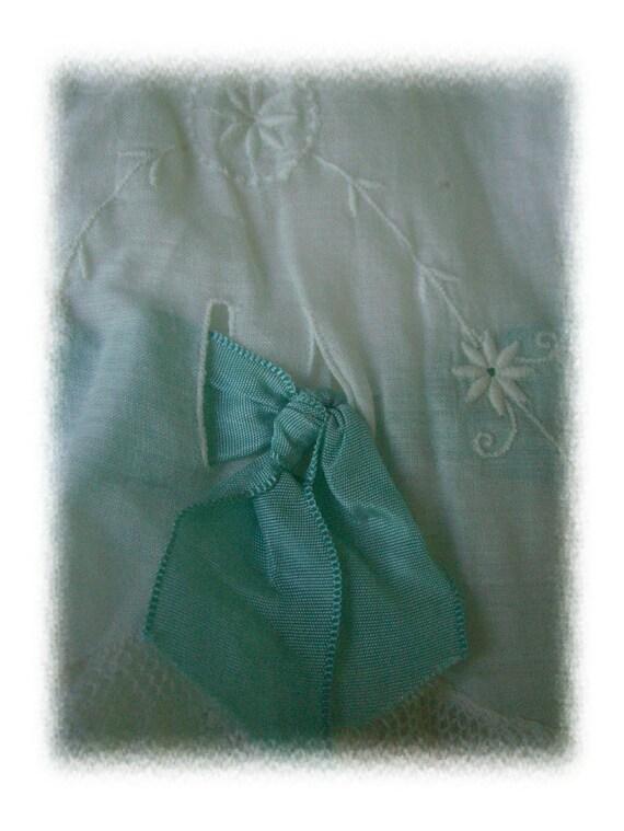 Vintage Edwardian cotton Boho slip Tiffany Blue Grosgrain ribbon antique white Lingerie Time to get your Downton Abbey style