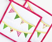 Bunting Hullabaloo Potholders - Handmade Quilted Potholders - Set of Two