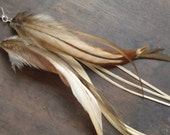 Sandstone Natural Feather Earrings