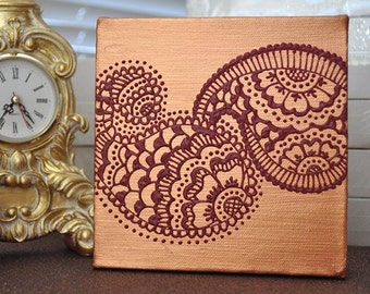 SALE - Henna Mehndi Style Paisleys - Original OOAK - 6x6 Canvas - Gift idea for wedding, bridal, valentines day, mothers day