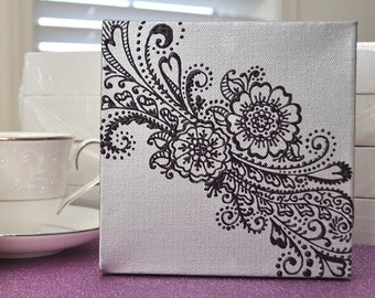 SALE - Henna Style Floral - 6x6 Canvas - original painting - OOAK - bridal - mothers day - valentines day
