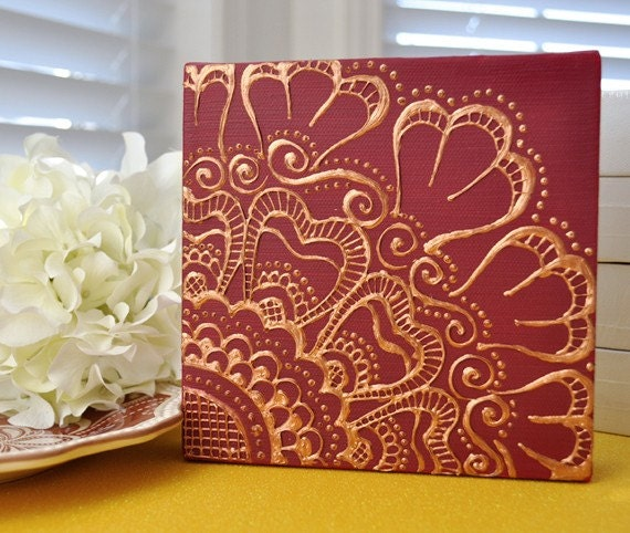 Items similar to SALE - Henna Style Golden Floral on Deep ...