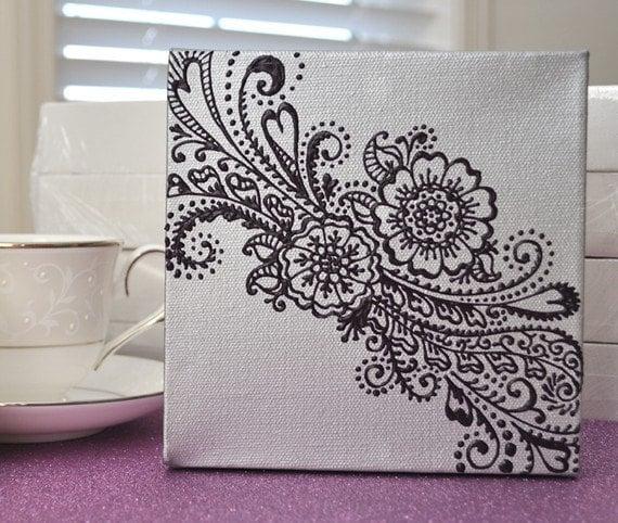 VENTA - Henna estilo Floral - día de las madres de lona - novia - OOAK - pintura original - 6 x 6 - día de San Valentín