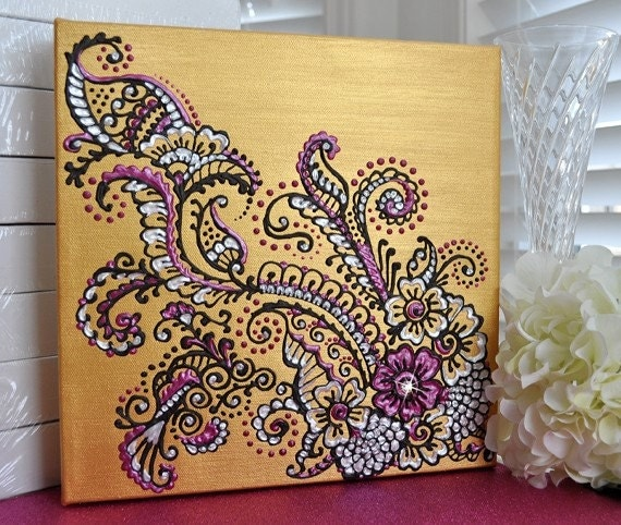 HennaMehndi Inspired Acrylic Painting on Canvas Gold Pearl