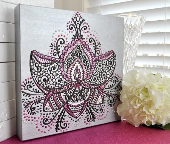 "RESERVED for Elisha - Lovely Lotus - 10x10"" canvas - Henna Inspired - Swarovski Crystals - OOAK Original - 10x10 canvas"