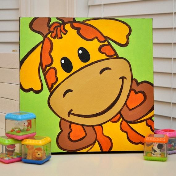 Gerry la jirafa - linda divertida pintura Original para bebé o niños sala de decoración