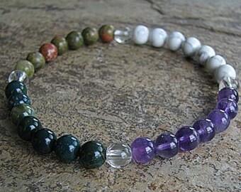 PISCES - Zodiac Bracelet, Crystal Healing Gemstone, Yoga Jewelry, Energy Bracelet, Astral Stones Mala Bracelet, Stackable, Birthday, Lucky