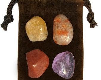 ARIES - Zodiac STONE KIT Crystal Healing Gemstone Set, Meditation Stone Set, Astral Stones, Birthstones, Tumbled Gemstones, 4 Stones