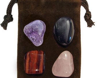 ANTISTRESS - Meditation Stone Set Crystal Healing Gemstone Kit, Tumbled Gemstone Healing Set, 4 Stones, Pouch, Card