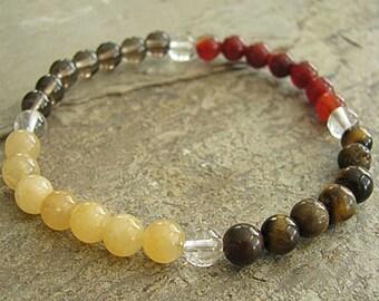 PROTECTION- Crystal Energy MEDITATION BRACELET -  Intention Bracelet, Yoga Jewelry, Energy Bracelet, Affirmation Mala Bracelet