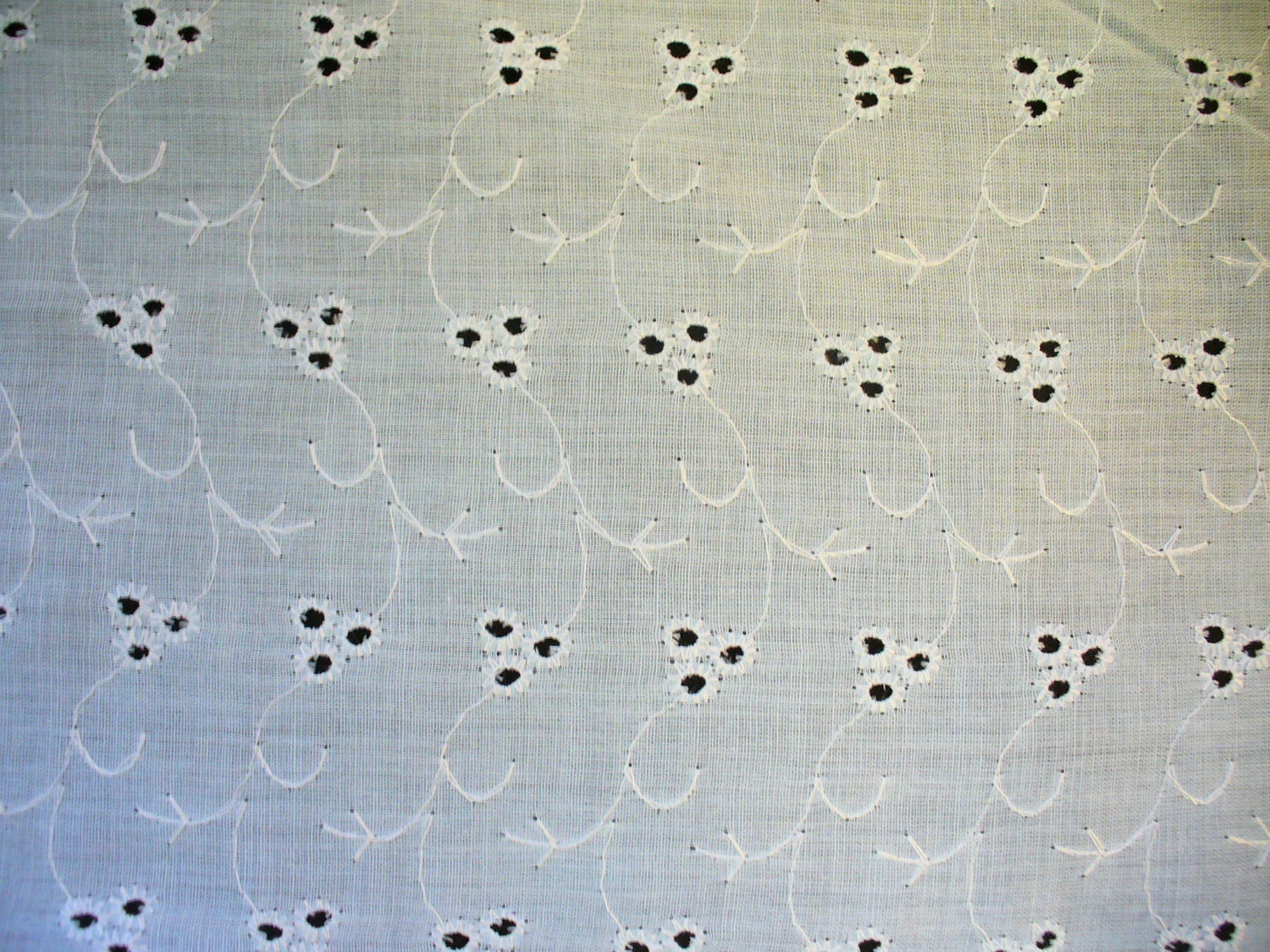 Vintage Eyelet Fabric Baby Blue Sky Blue Sewing Cotton Fabric