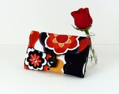 Travel Jewelry Organizer / Jewelry Roll in Mod Flowers in Black, Red, and Mustard by UpUrAly