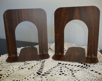 Metal Bookends, Vintage Metal Industrial Bookends, Faux  Wood Book Ends