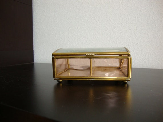 vintage brass and glass trinket box