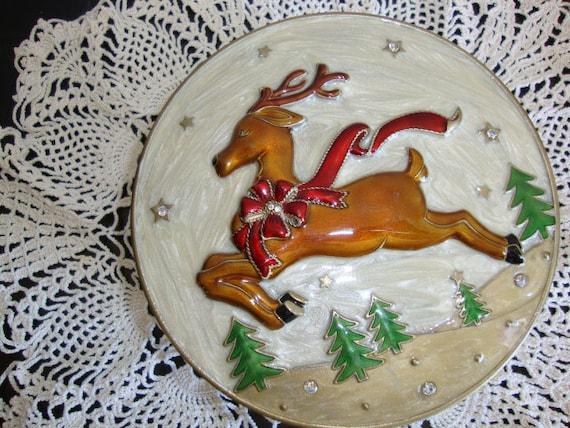 Jewelry Box, Elegant Brass Enamel Cloisonne Jewelry Trinket Box, Reindeer, Christmas Gift