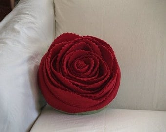 Red Rose on a Olive Green Pillow