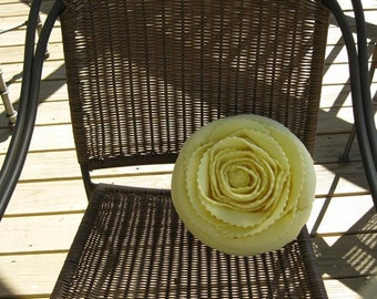 Yellow Rose sewn on Light Green Pillow