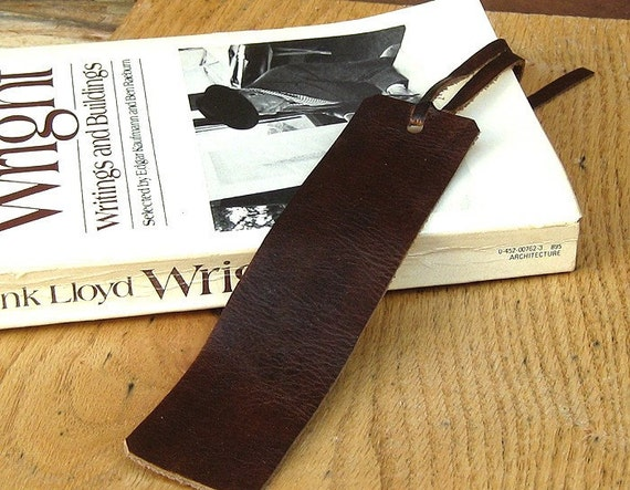 Tobacco Leather Bookmark -- Free Custom Monogram Free shipping