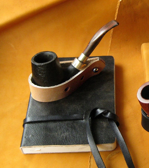 Hand Crafted Leather Pipe Stand in Briar -- Adjustable with Free Monogramming