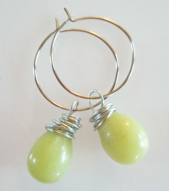 Earrings, Large Genuine Jade Smooth Briolette Wire Wrapped Hoop Earrings