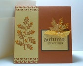 Autumn Greeting Card in copper metallic paper & hand stamped