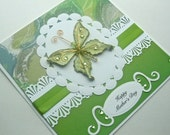 Mother's Day Card   Elegant with glittered butterfly in green, white & gold
