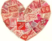 Stamp Love - Red Postage Stamp Heart Collage