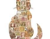 Cat with Fluffy Tail Postage Stamp Collage